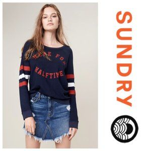 SUNDRY Here for Halftime Pullover Sweatshirt Navy